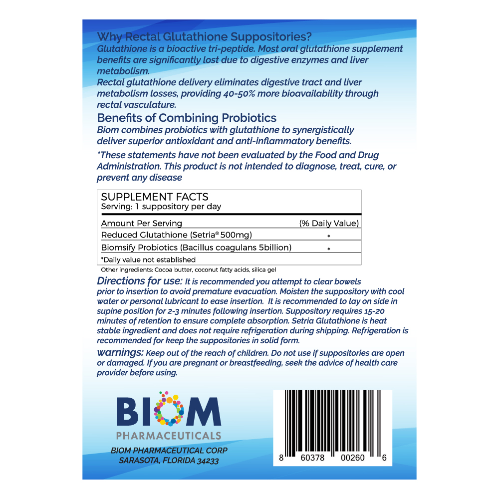 Gut Microbiome Human Health Probiotics | Biom Probiotics | Probiotics | High Potency Glutathione Suppository | L-Glutathione Probiotic Suppository