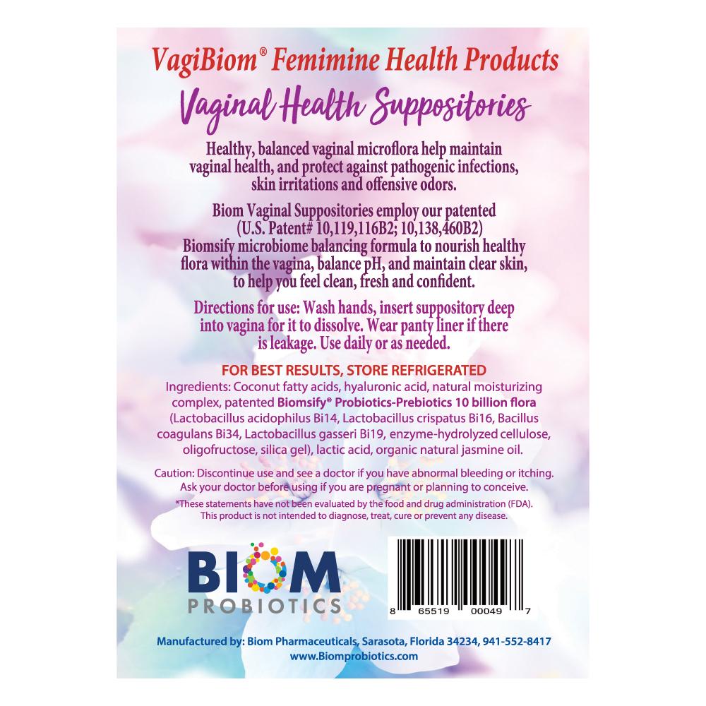 Probiotic Prebiotic Suppository | BIOM Probiotic Vaginal Suppository | Vaginal Health Suppository | BIOM Probiotic Vaginal Suppository