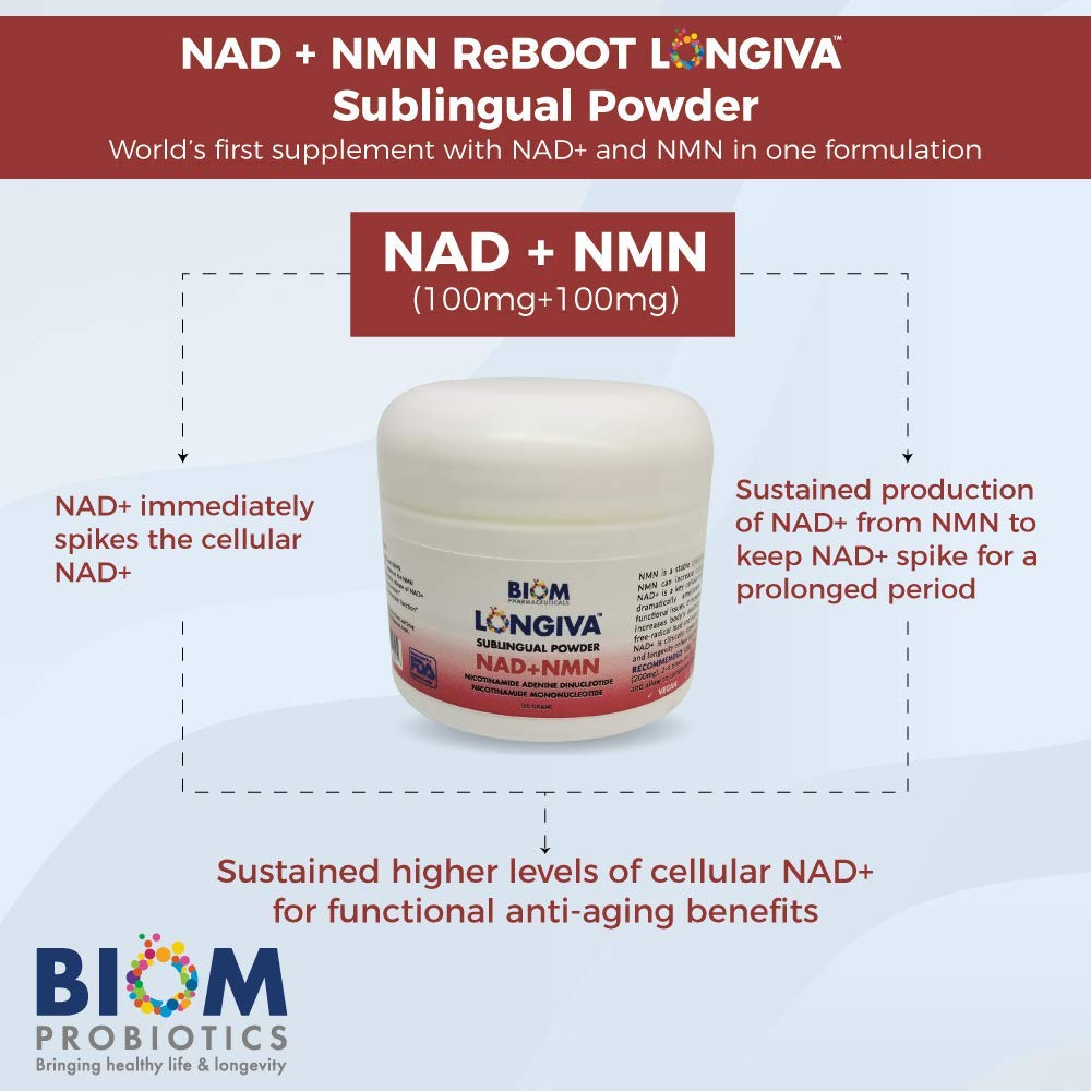 Supports and Improves Brain Health | Biom Probiotics | Biom NAD+NMN Sublingual Powder NAD+NMN powder Probiotic | NAD+NMN healthy aging powder
