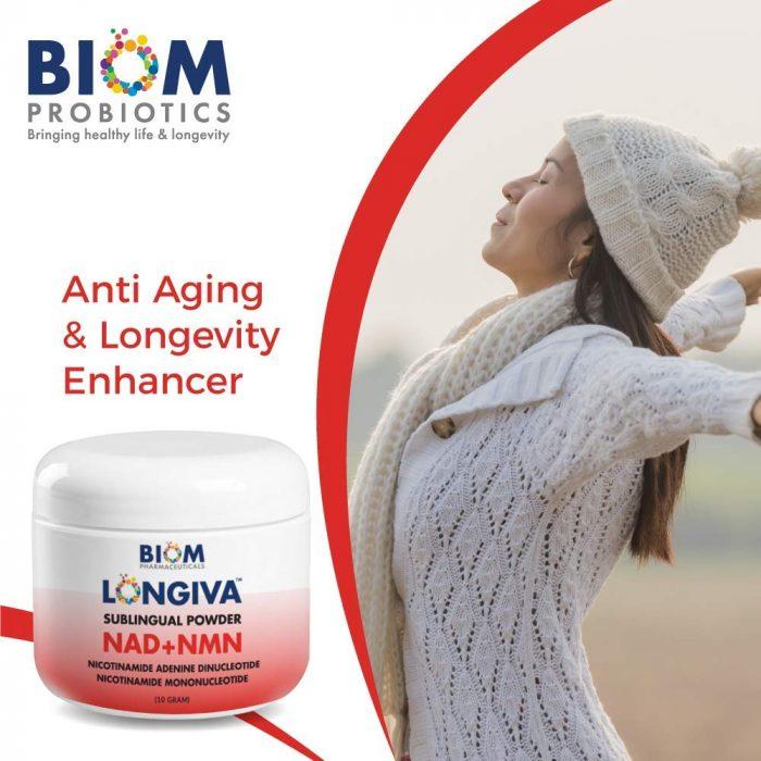 Supports and Improves Brain Health | Biom Probiotics | Biom NAD+NMN Sublingual Powder | NAD+NMN powder Probiotic | NAD+NMN healthy aging powder
