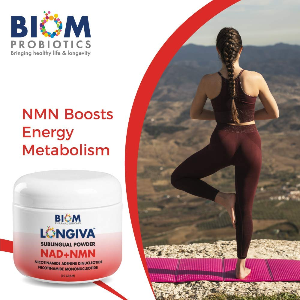 Supports and Improves Brain Health | Biom Probiotics | Biom NAD+NMN Sublingual Powder | NAD+NMN powder Probiotic | NAD+NMN healthy aging powder