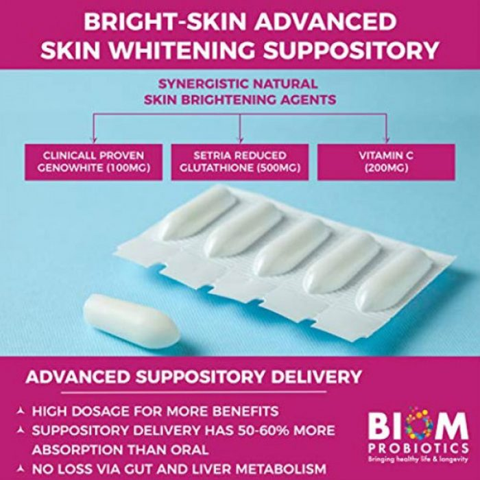 Bright Skin Liposomal Glutathione Suppository | BIOM Probiotic Suppository | Skin Whitening Suppositories | Bright-skin Suppositories